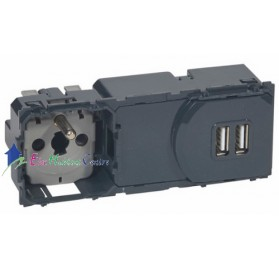 Mécanisme prise 2P+T 16A+prise chargeur 2 USB 2400mA précâblée Céliane Legrand 067106