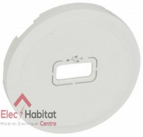 Enjoliveur blanc prise USB femelle et pré-connectorisée Céliane Legrand 068253