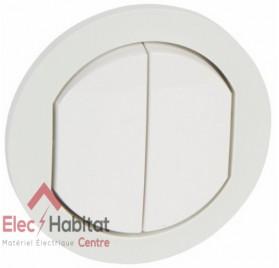 Manette double interrupteur, va et vient ou poussoir IP44 étanche Céliane blanc Legrand 067802