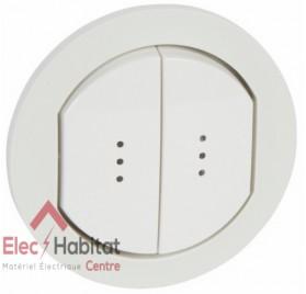 Manette double interrupteur, va et vient ou poussoir à voyant IP44 étanche Céliane blanc Legrand 067804