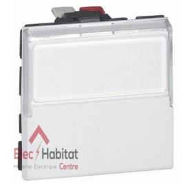 Bouton poussoir inverseur porte-étiquette 6A 2 modules Mosaic blanc Legrand 077043
