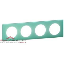 Plaque quadruple entraxe 71mm 50's turquoise Legrand 066644