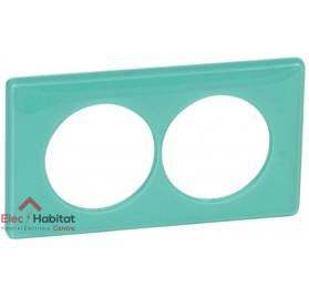 Plaque double entraxe 57mm 50's turquoise Legrand 066648