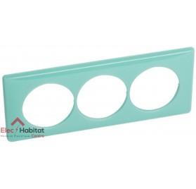 Plaque triple entraxe 57mm 50's turquoise de marque Legrand, référence 066647