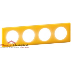 Plaque quadruple entraxe 71mm today jaune Legrand 066674