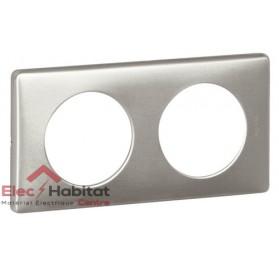 Plaque double Métal aluminium entraxe 71mm Legrand 068922