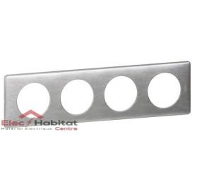 Plaque quadruple Métal aluminium entraxe 71mm Legrand 068924