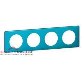 Plaque quadruple Métal blue snake entraxe 71mm Legrand 068774