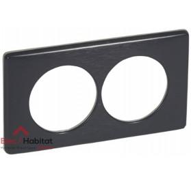 Plaque double Métal carbone entraxe 57mm Legrand 068988
