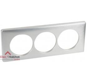Plaque triple Métal aluminium entraxe 57mm Legrand 068929