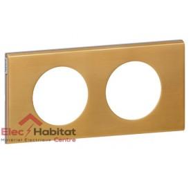 Plaque double Matière bronze doré entraxe 71mm Legrand 069132