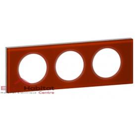 Plaque triple Matière verre carmin entraxe 71mm Legrand 069473