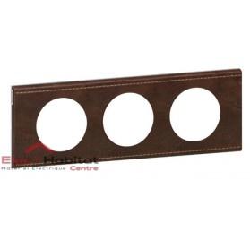 Plaque triple Matière cuir brun texturé entraxe 71mm Legrand 069403