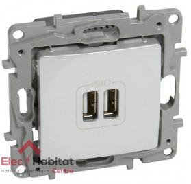Prise double USB 2400mA type A Niloé blanc Legrand 664794