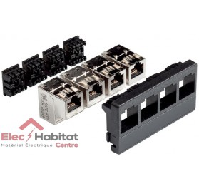 Panneau de brassage 4 ports équipé 4 RJ cat.6 STP LexCom Home grade 3 Schneider VDIR512002