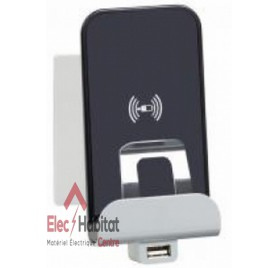 Chargeur à induction + module de charge USB type A Niloé blanc Legrand 664797