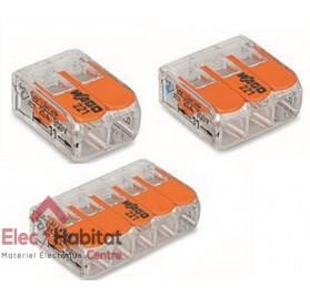 Lot de 5 bornes automatiques 2, 3 et 5 entrées souple/rigide Wago LOT221x5