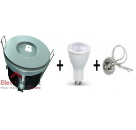 Kit spot encastré blanc LED étanche 230v GU10 8w 6400K blanc froid modèle KSET8WBF