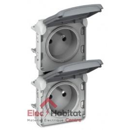 Prise de courant 2P+T étanche 2 postes vertical Plexo gris Legrand 069563