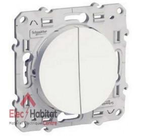 Double bouton poussoir 6A blanc Schneider Odace S520216
