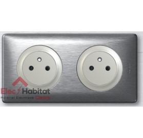 Prise double 2P+T16A affleurante Céliane aluminium 067124+068411x2+080252+068922