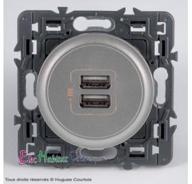 Double prise chargeur USB céliane Legrand titane 067462+068556+080251