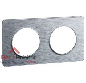 Plaque double entraxe 71mm Aluminium brossé, liseré Alu Odace Touch Schneider S530804J