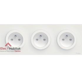 Triple prise de courant 2P+T complète Schneider Odace blanc S520059x3+S520706