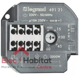 Télérupteur unipolaire avec minuterie encastrable 10A 230V Legrand 49121